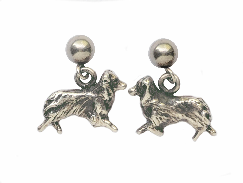 Sterling silver Australian Shepherd earrings