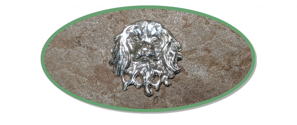 Cavalier King Charles Spaniel Jewelry Pin or Brooch on natural stone background