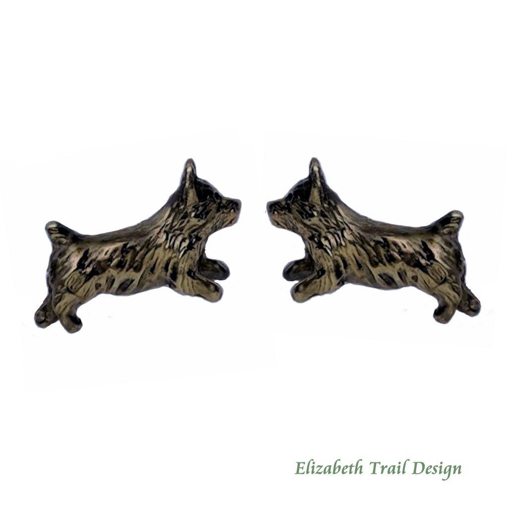 Norwich Terrier Jewelry, bronze Norwich Terrier stud earrings by Elizabeth Trail
