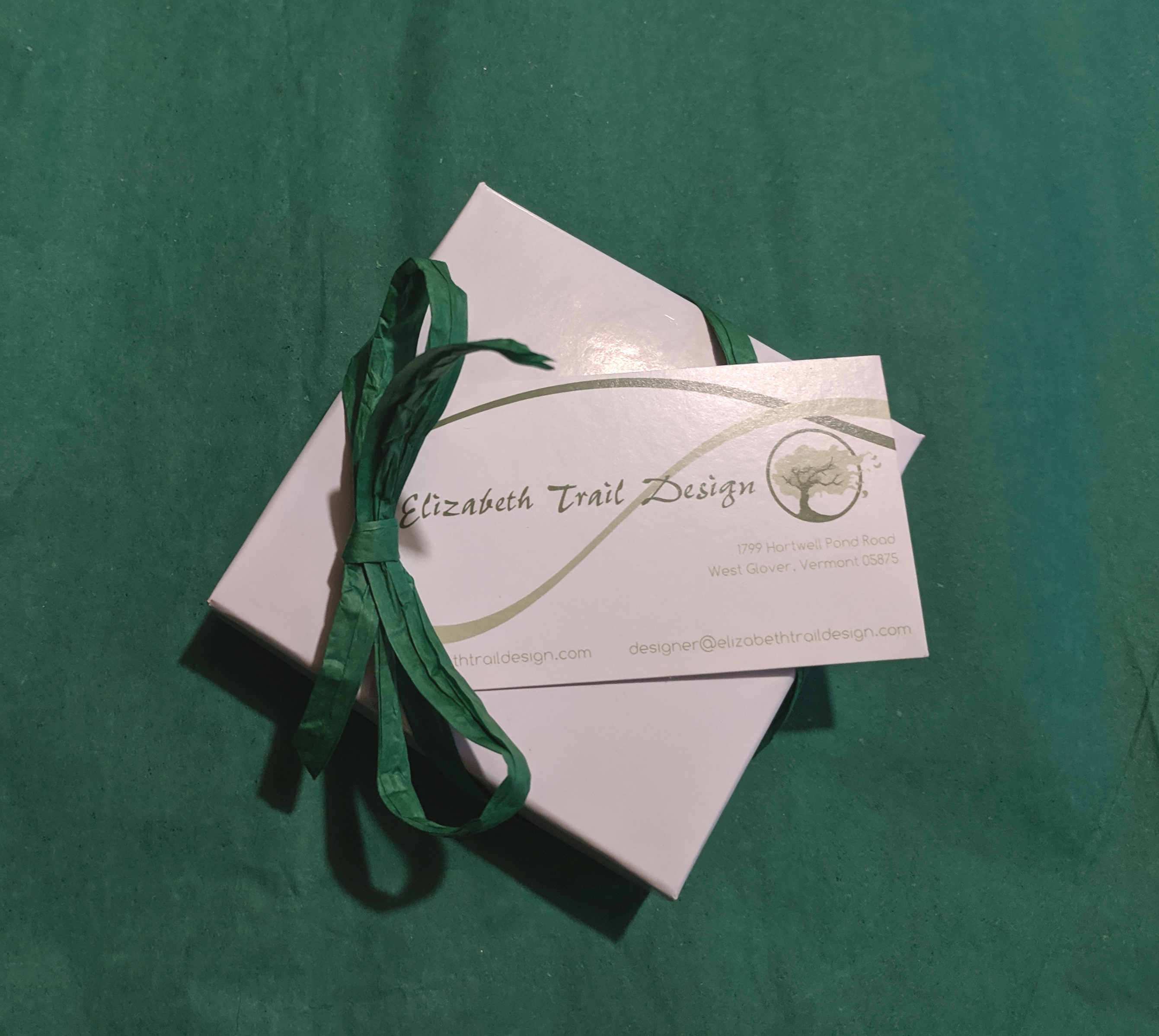 Image of the box used to ship Elizabeth Trail Design jewelry